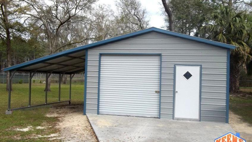 18X21 garage one rollup door 1 walk in door 12 foot wide lean to