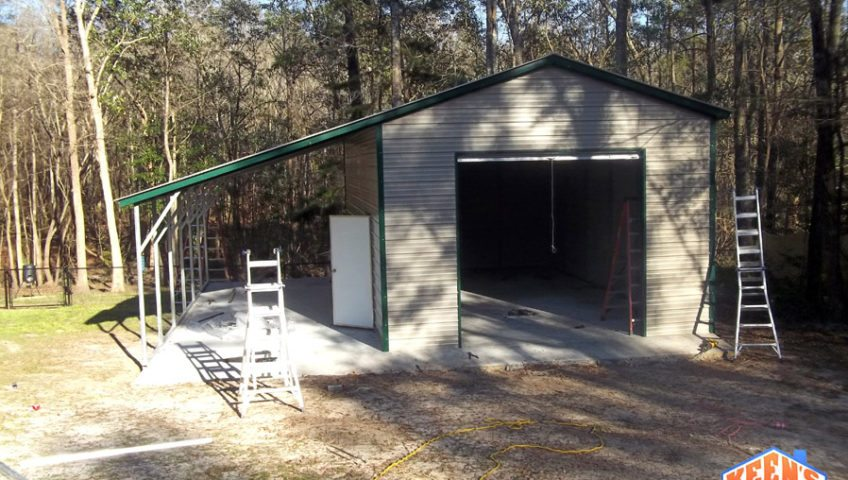 18X26 one roll up garage door with 12X26 leanto