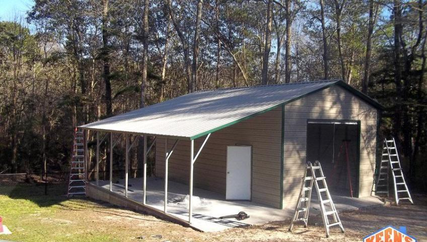 18X26 one roll up garage door with 12X26 leanto Angle view
