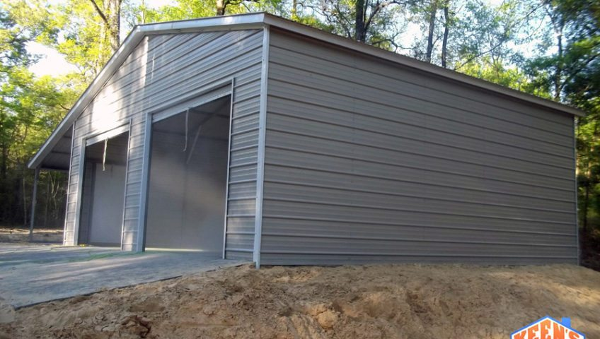 2 Door Steel Garage with Leanto