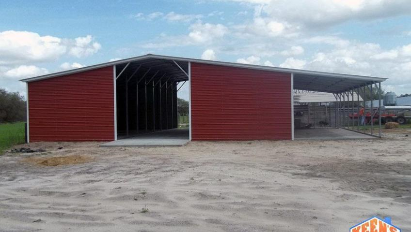 42 foot wide 12 wide lean to agricultural barn back view