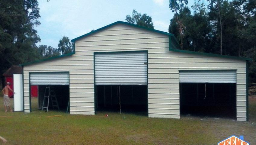 42 wide Carolina barn with 3 rollup doors