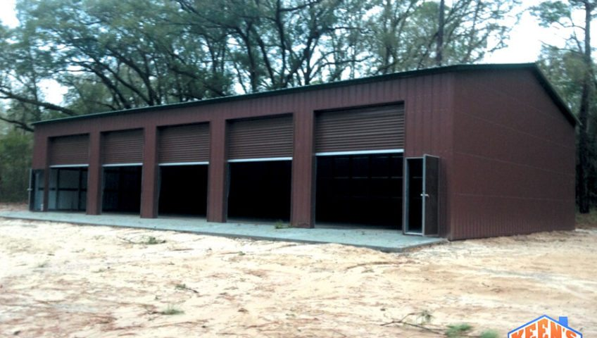5 Bay Steel Garage with Rollup Doors View 3