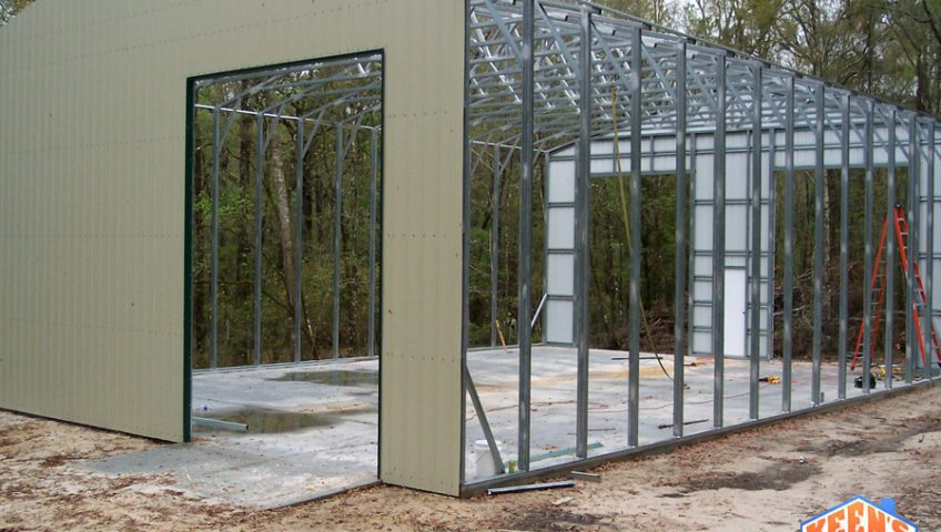 Commercial steel building project 40X60 Framing front and back walls 2
