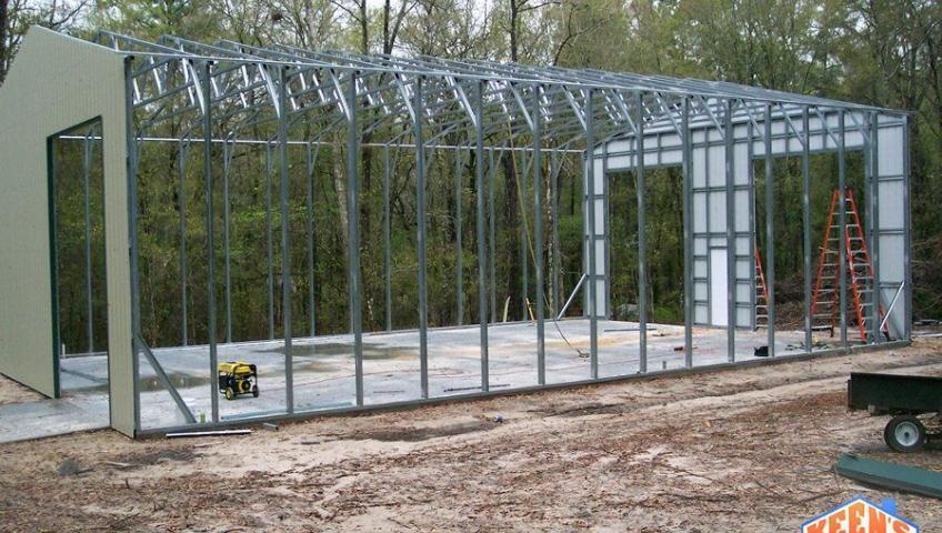 Commerical steel building project 40X60 Framing with front and back walls