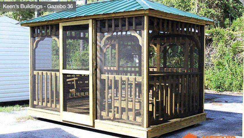 Keens-Building-Gazebo-7x11-Screen-Enclosed-Table-and-Swing