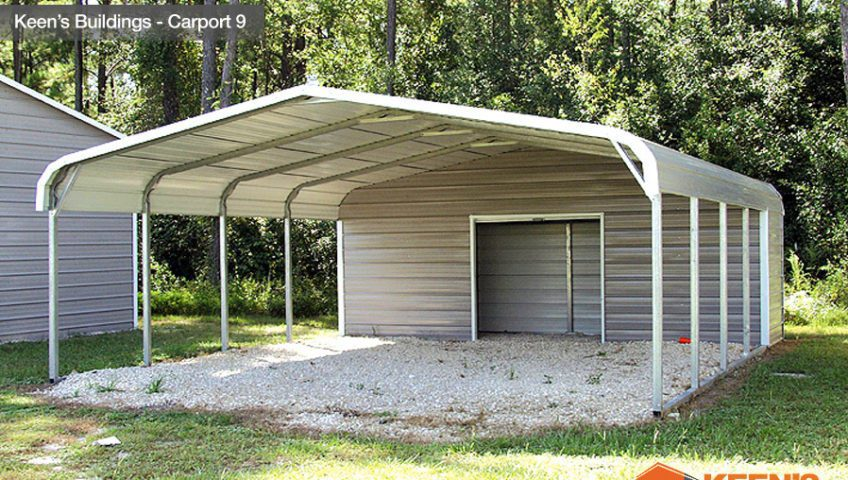 Keens Buildings 18x31 Utility Carport with Enclosed Storage 9