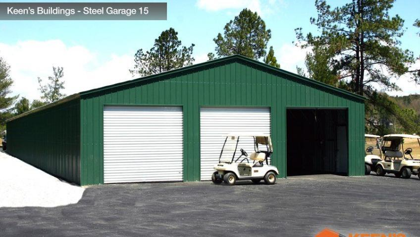 Keens Buildings Steel Garage 15 30W Boxed Eave 3 8x8 Roll Doors