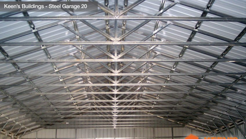 Keens Buildings Steel Garage 20 40W Truss inside View