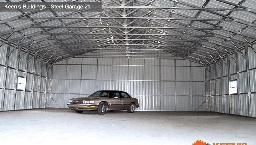 Keens Buildings Steel Garage 21 40x61 Inside View