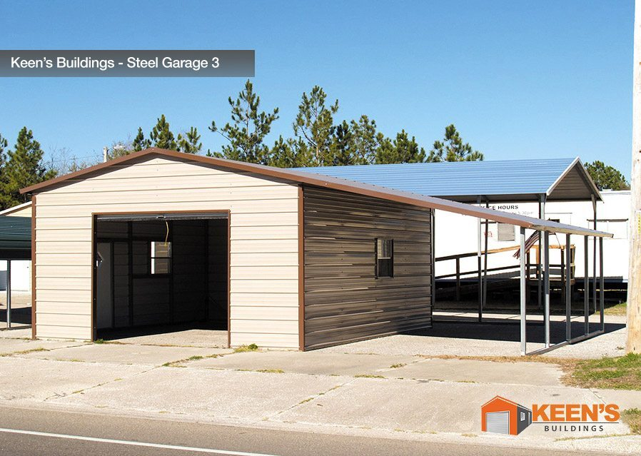 Steel garages keen 39 s buildings for 3 car garage metal building