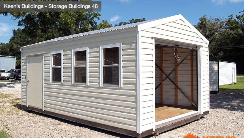 Keens Buildings Storage Shed with rollup door 48