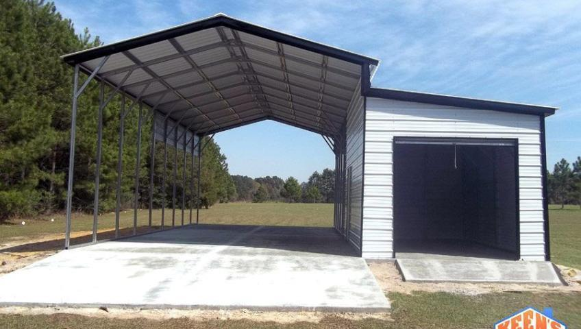 RV Carport with Single Rollup Door Garage
