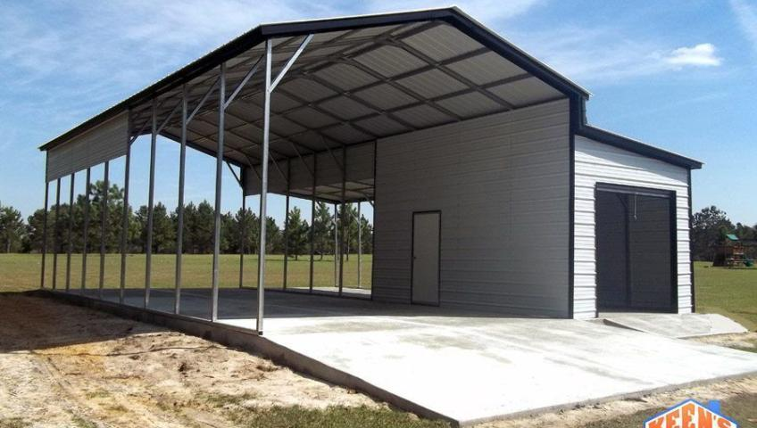 RV Carport with Single Rollup Door Garage View 2