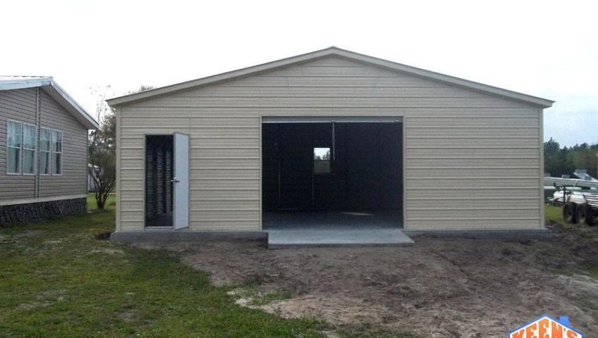 Single Bay Garage with Roll up Garage Door Door and Windows