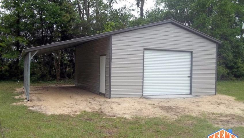 Single Steel Garage with Leanto