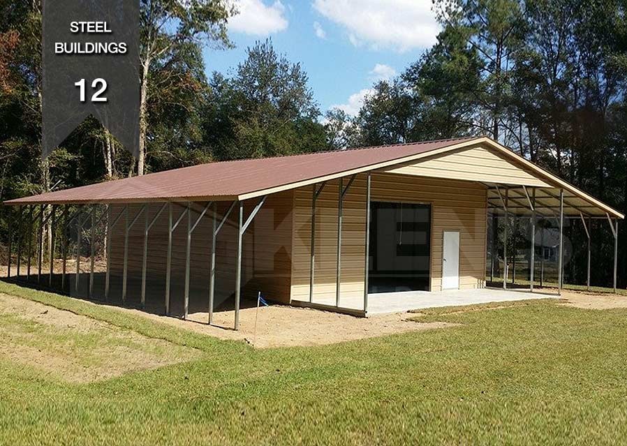 Steel Building Kb 12 Vertical Roof Building With Lean To