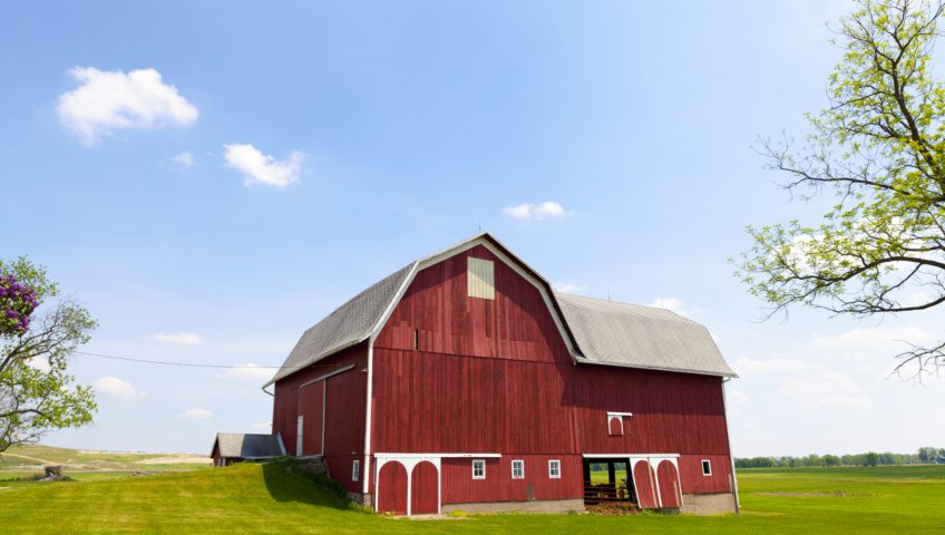 A large red barn is visible atop a small rise on a wide grassy plain. Branches from two trees are visible on the left and right edges of the photograph. The sky is blue with a few small clouds.